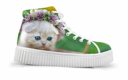 Vintage Style Creepers Cute 3D Cat Printing Shoes Cat Design Footwear Pet Clever 1