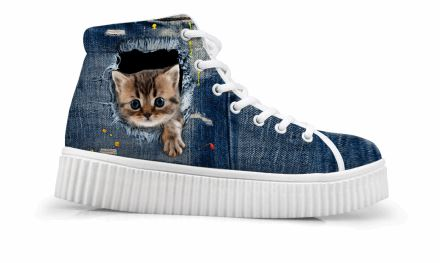 Vintage Style Creepers Cute Paw Out 3D Cat Printing Shoes Cat Design Footwear Pet Clever US 5 - EU35 -UK3