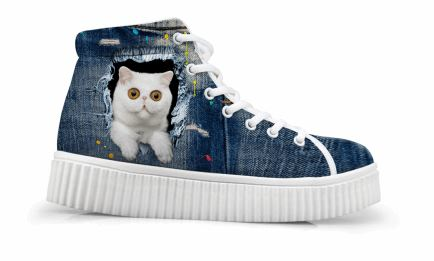 Vintage Style Creepers Cute White 3D Cat Printing Shoes Cat Design Footwear Pet Clever US 5 - EU35 -UK3