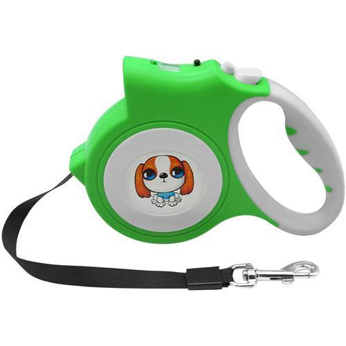 Walking Retractable Dog Leash With Bright Flashlight Dog Leads & Collars Pet Clever Green
