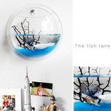 Wall Mounted Hanging Transparent Acrylic Fish Bowl Fish Tank Pet Clever
