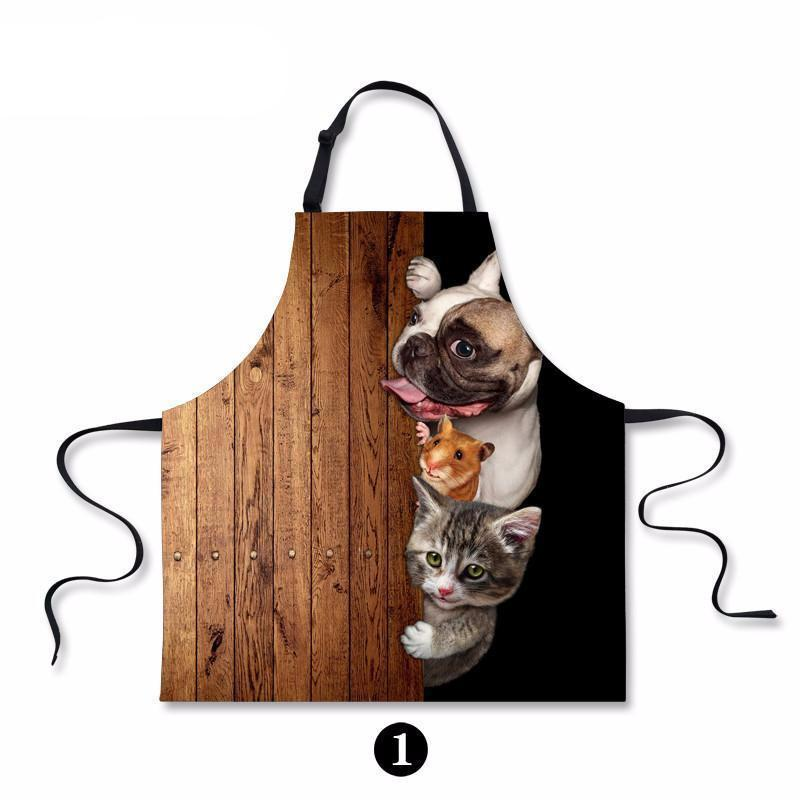 Waterproof Cooking Apron with Dog Cat Art Painting Dog Design Accessories Pet Clever 1