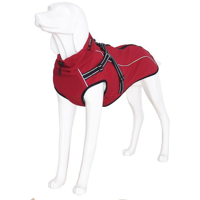 Waterproof Outdoor Warm Fleece Jacket Coat with Harness Dog Harness Pet Clever red XS