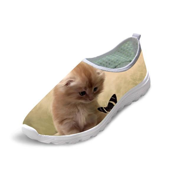 Women Casual Mesh 3D Cute Cat Shoes Design Cat Design Footwear Pet Clever US 5 - EU35 -UK3