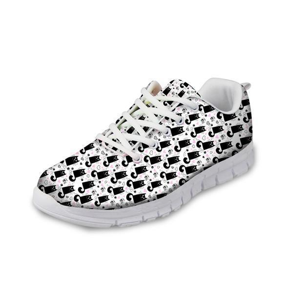 Women Fashionable Mesh Flats Shoes Cat Prints Cat Design Footwear Pet Clever A