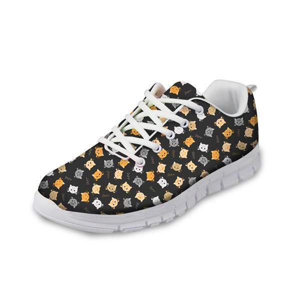 Women Fashionable Mesh Flats Shoes Cute Cat Prints Cat Design Footwear Pet Clever US 5 - EU35 -UK3