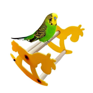 Wooden Horse Rocking Chair Seesaw Bird Toy Bird Toys Pet Clever