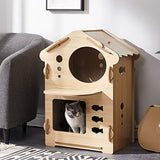 Wooden Pet House Dog Beds & Blankets Pet Clever Natural 2 Tier