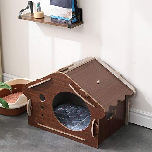 Wooden Pet House Dog Beds & Blankets Pet Clever Brown 1 Tier