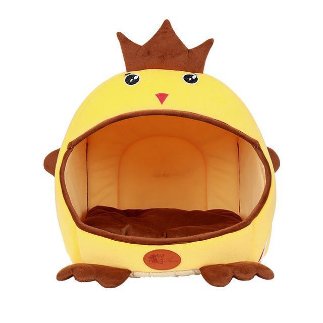 Yellow Foldable Cat Cave Chicken Shape Cat Beds & Baskets Pet Clever Yellow Large
