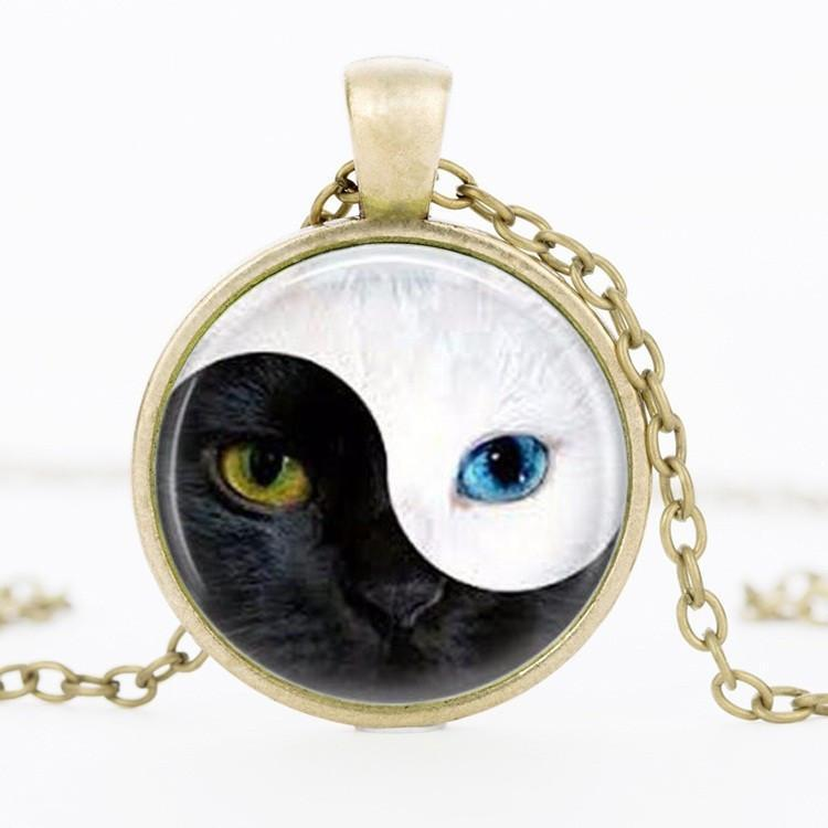 YinYang Cat Pendant Necklace Cat Design Jewelry Pet Clever