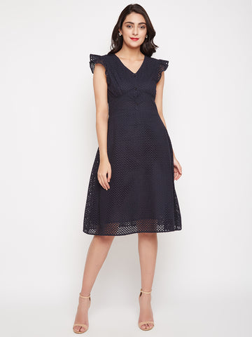 Eyelet Ruffle Sleeve Dress