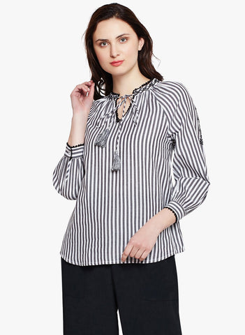 Summer Stripe Embroidered Top