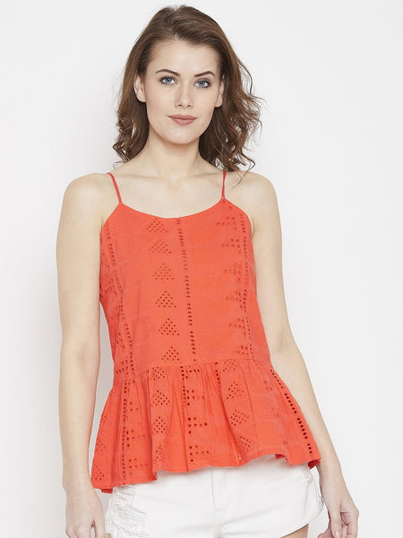Orange Eyelet Peplum Top