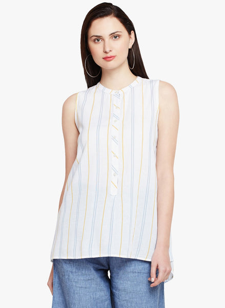 Variegated Stripe Sleeveless Shirt