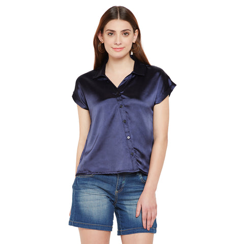 Slanted Placket Crop Shirt