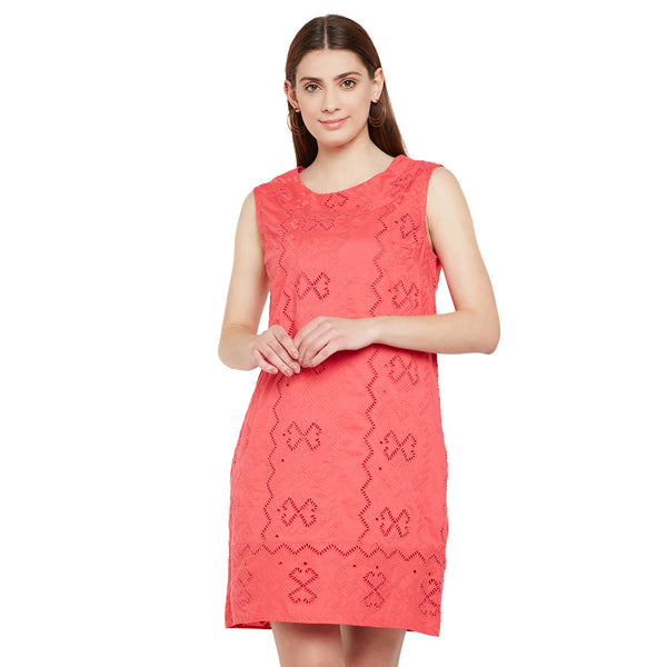 Cut Sleeve Pink Schiffly Dress