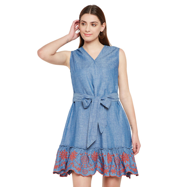Floral Embroidered Chambray Dress