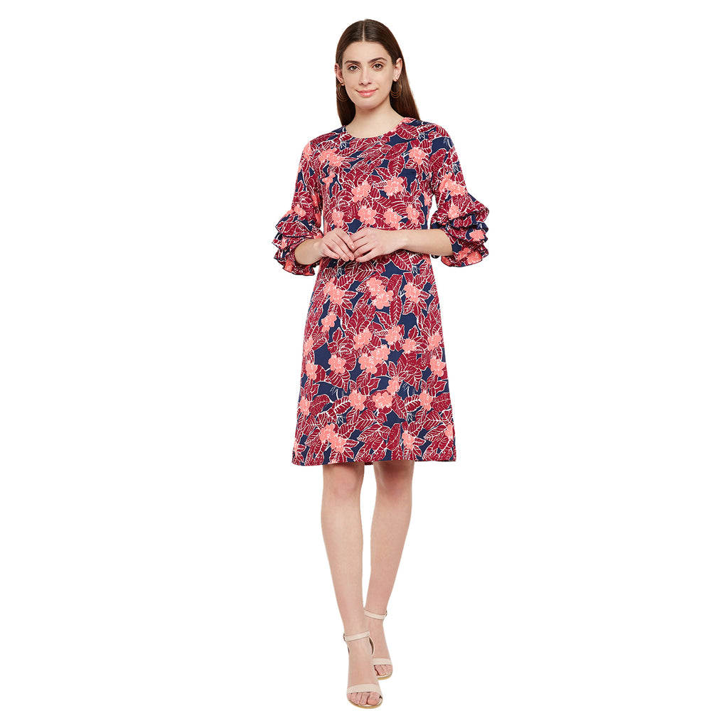 Tiered Ruffle Sleeve Printed Dress