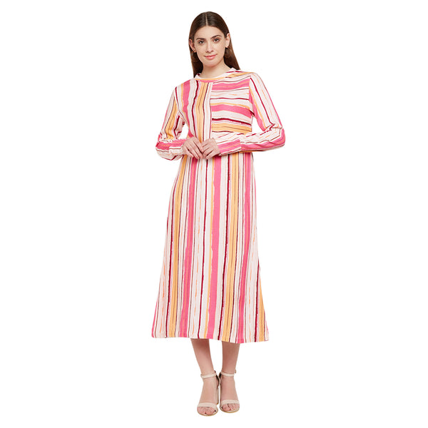 Irregular Striped Midi Dress