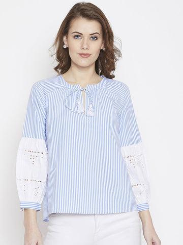 Eyelet Sleeve Stripe Tunic