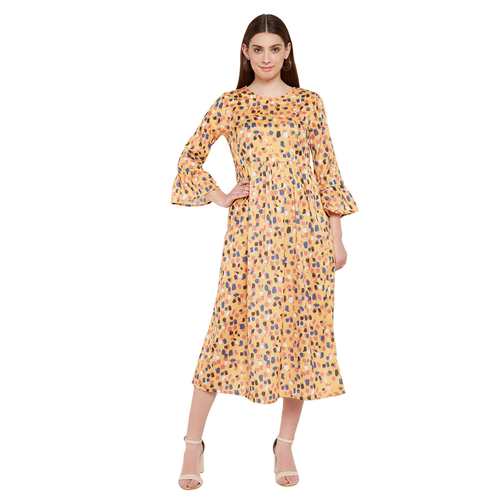 Flounced Sleeves Maxi Dress