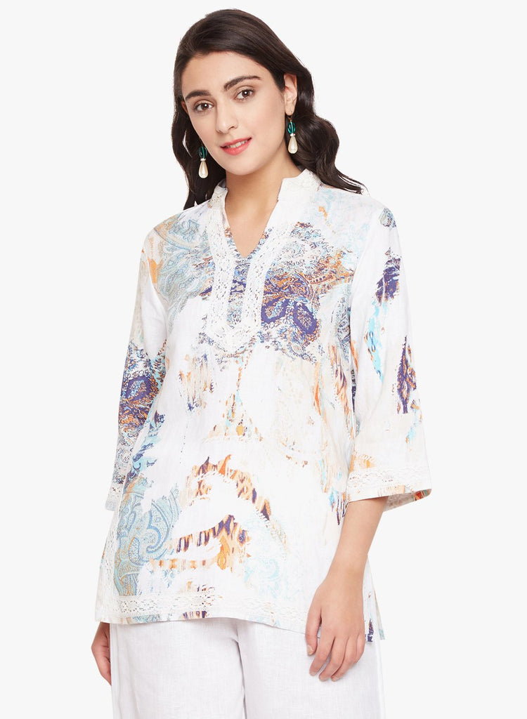 Abstract Print Linen Tunic