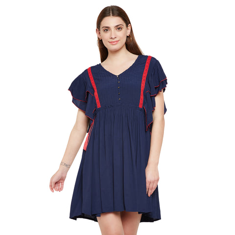 A line Pin Tuck Dress