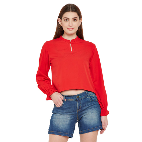 Gathered Sleeve Red Top