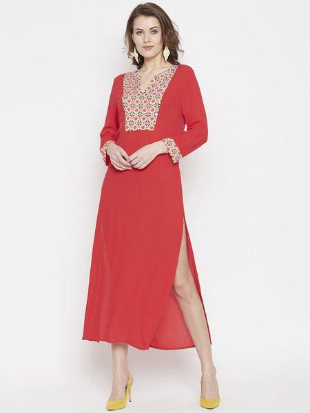 Embroidered Yoke Slit Kaftan Dress