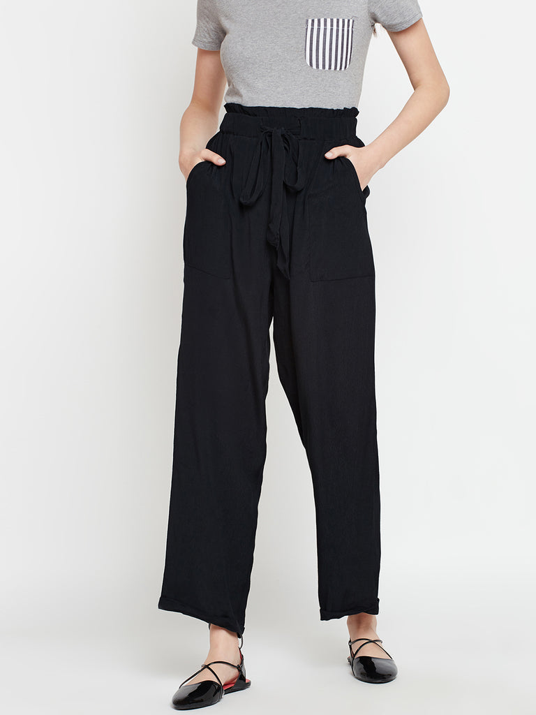 Paperbag Solid Pants