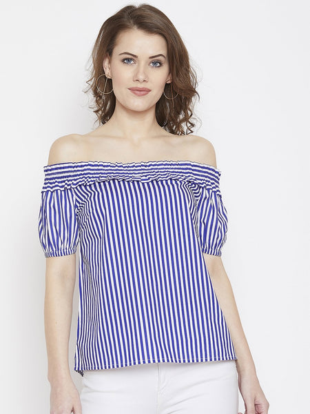 Young Stripe Off Shoulder Top