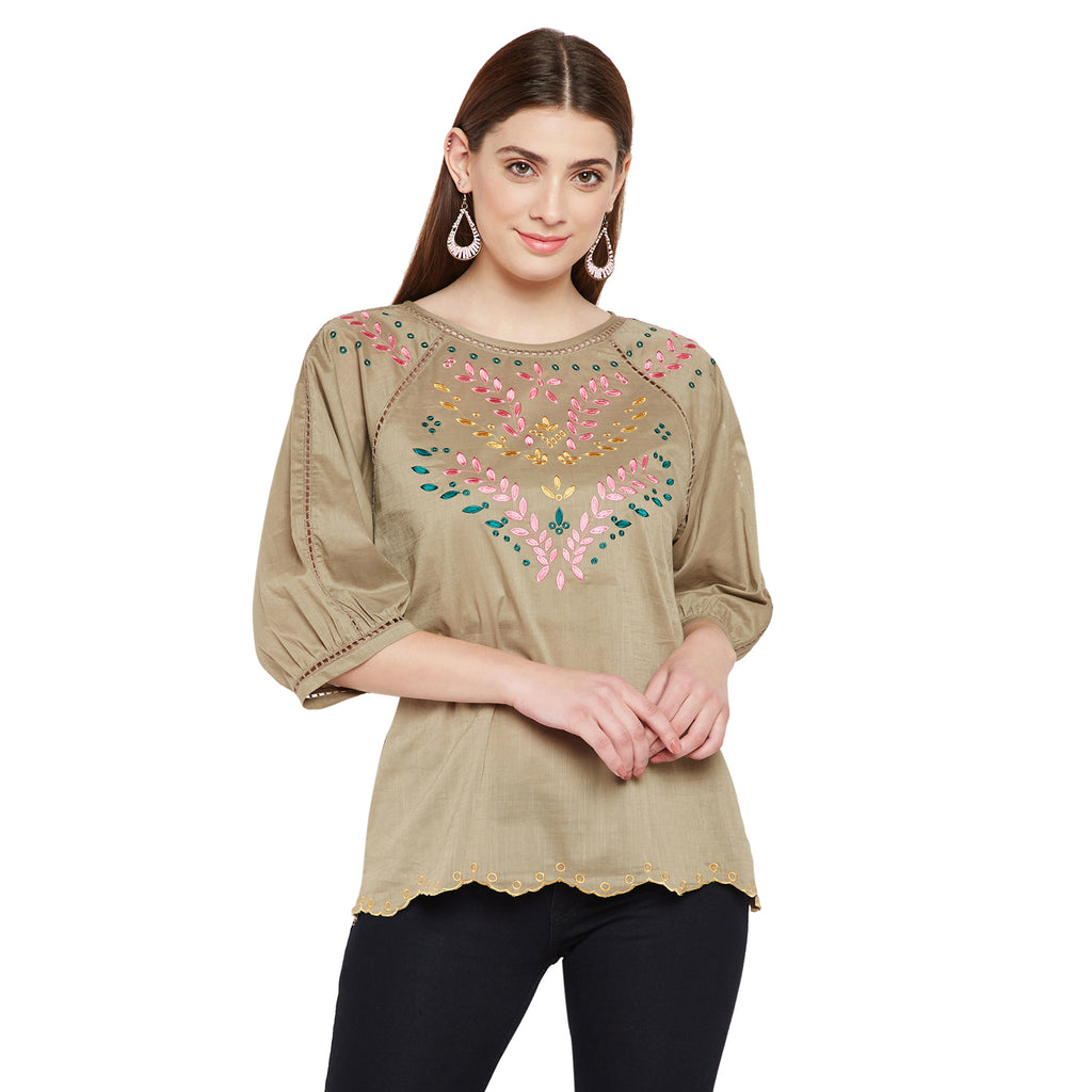 Colourful Emboidery Round Neck Top