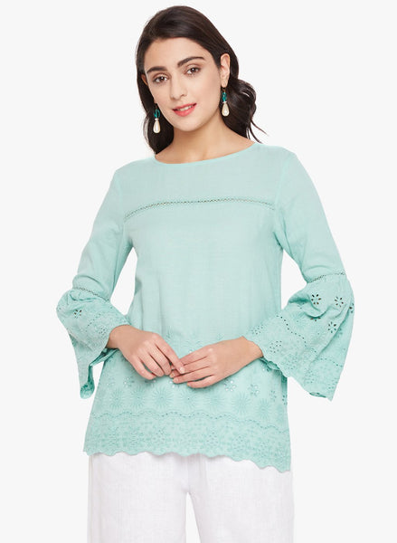 Green Eyelet Flare Sleeve Top