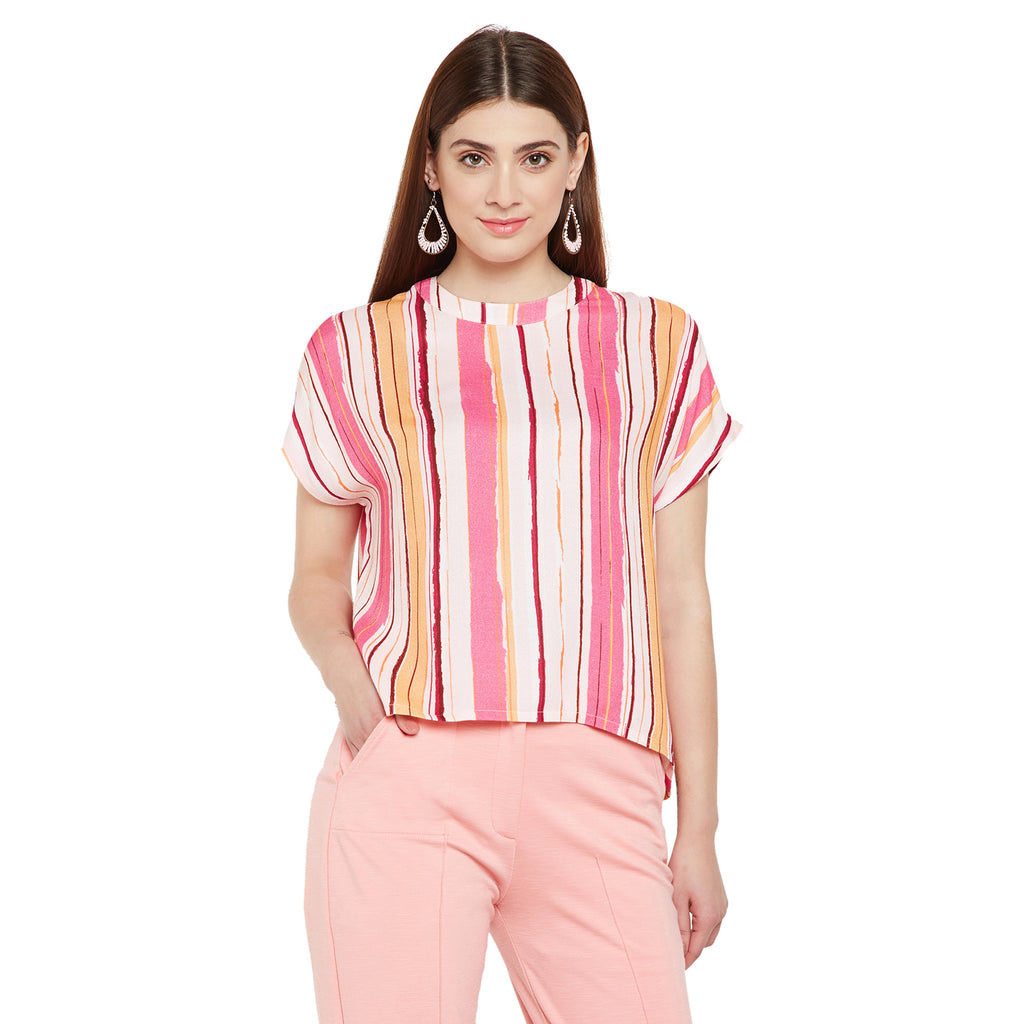 High Collar Stripe Top