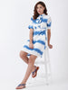 Printed Tie Dye Ruffle Trim Dress
