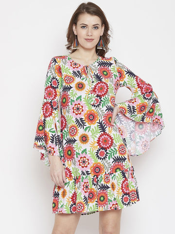 Multi Floral Ruffle Dress