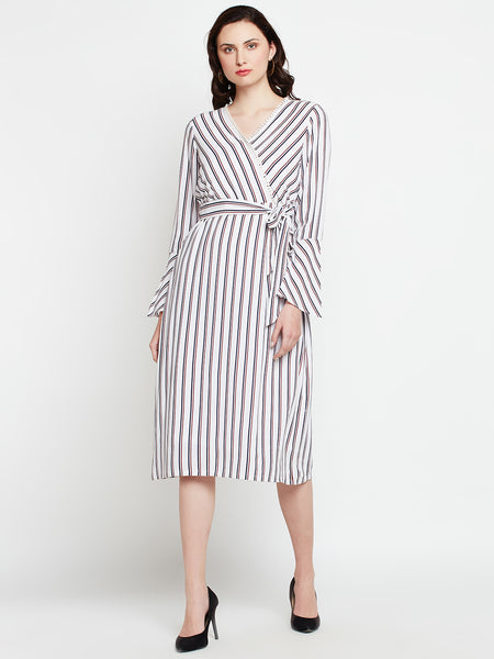Contrast Stripe Wrap Dress