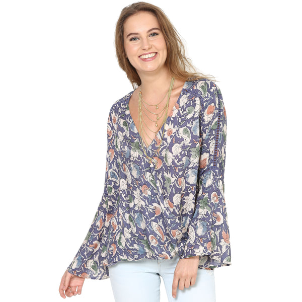 Juliana Purple Bell Seeve Blouse