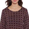 Burgundy Geometric Print Regular Fit Top