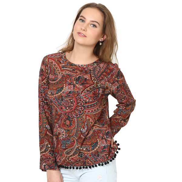 Laura Pom Pom Brown Top