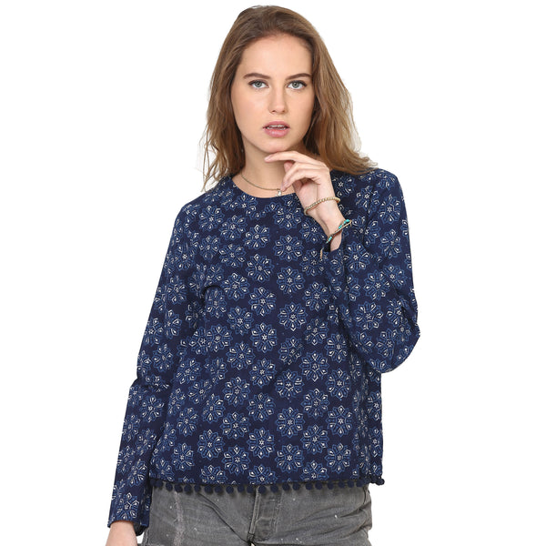 Laura Pom Pom Blue Top