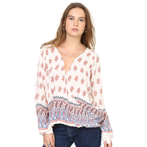 Madia Peasant Wrap Over Top with Border Print