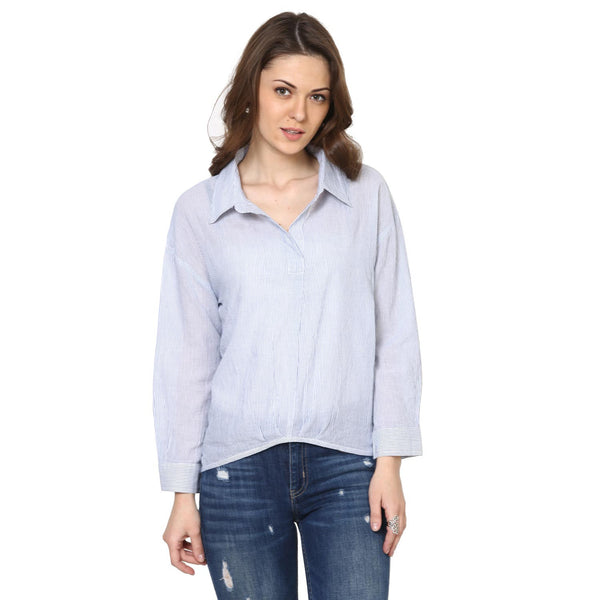 Selena High Low Yarndyed Casual Shirt