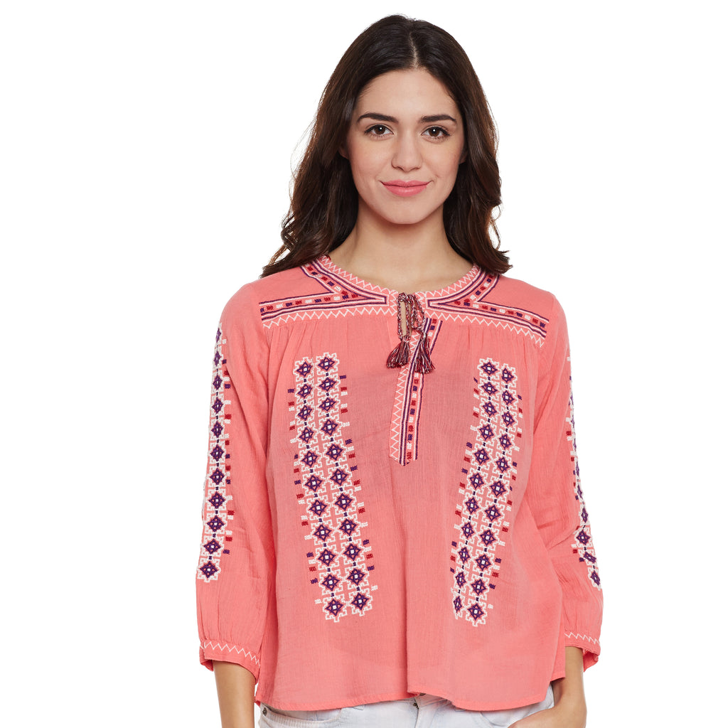 Sansy Embroidered Peasant Top