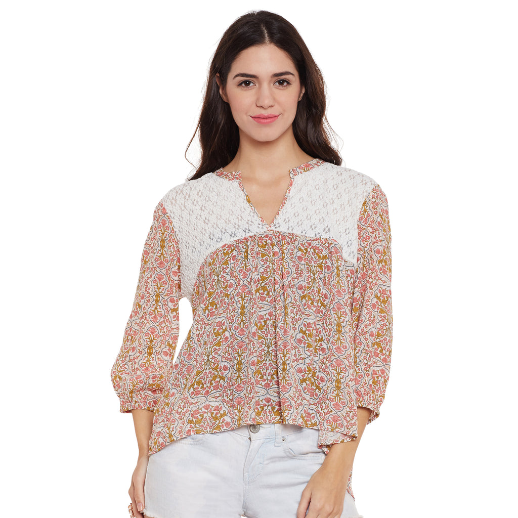 Melissa Lace Yoke Gathered Top