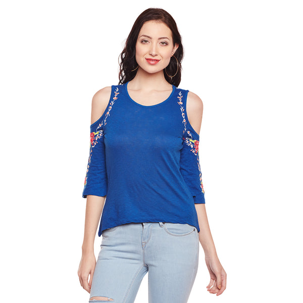 Blanche Blue Embroidered Tee