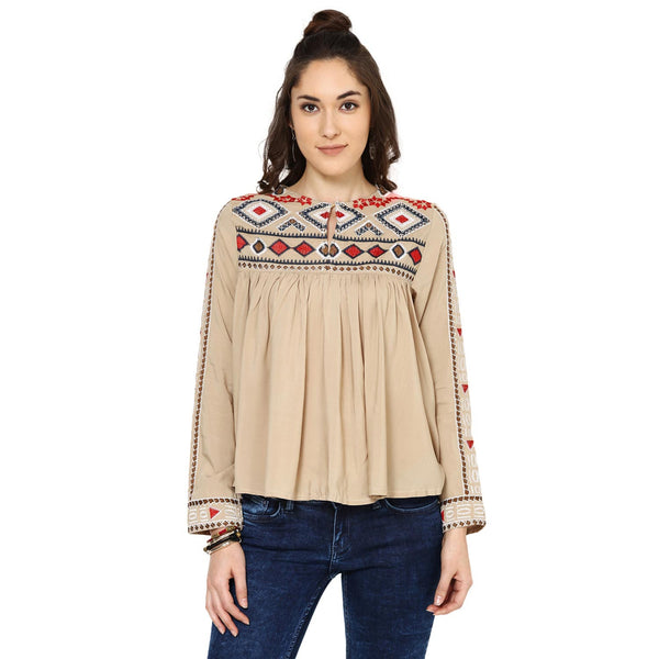 Sarah Geometric Embroidery Khakhi Top