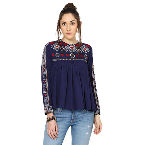 Sarah Geometric Embroidery Navy Blue Top