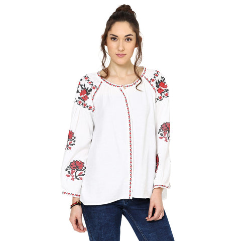 Bella Embroidered  Peasant White Top